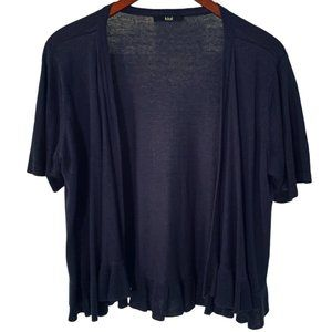Navy Blue Open Front Short Sleeve Knit Cardigan L